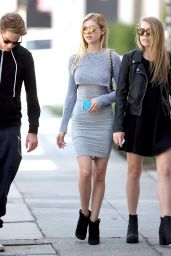 Nicola Peltz in a Tight Grey Dress - Out With Friends in West Hollywood