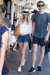 Poppy Delevingne in Jeans Shorts - Out in Cannes, May 2015