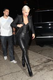Rita Ora - Wearing a Corset & Leather Pants - New York City, May 2015