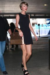 Taylor Swift in Black Mini Dress - LAX Airport, May 2015