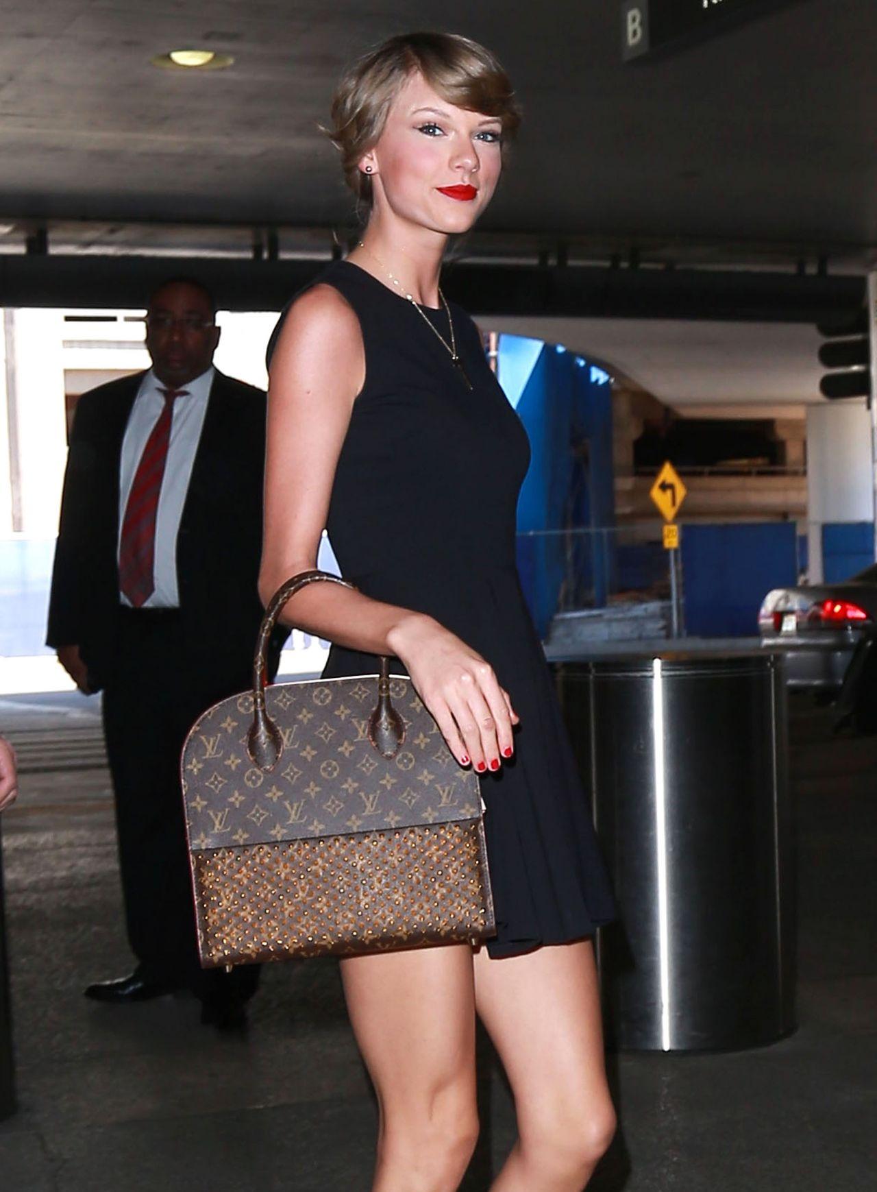 Taylor Swift In Black Mini Dress Lax Airport May 2015