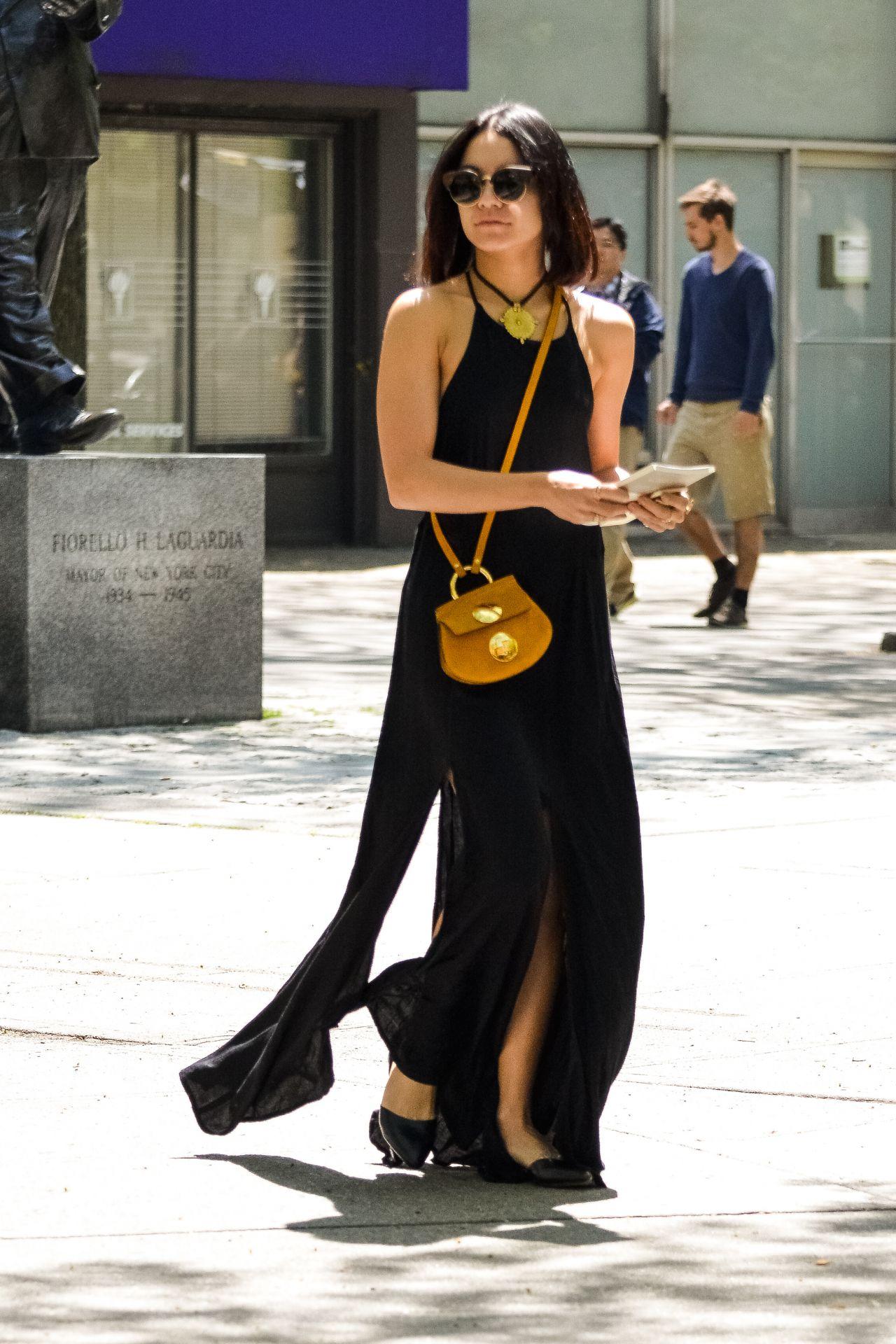 Image result for vanessa hudgens Black maxi dress.