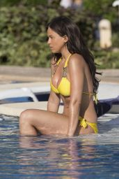 Vicky Pattison in a Yellow Bikini at a Pool in Mexico, May 2015