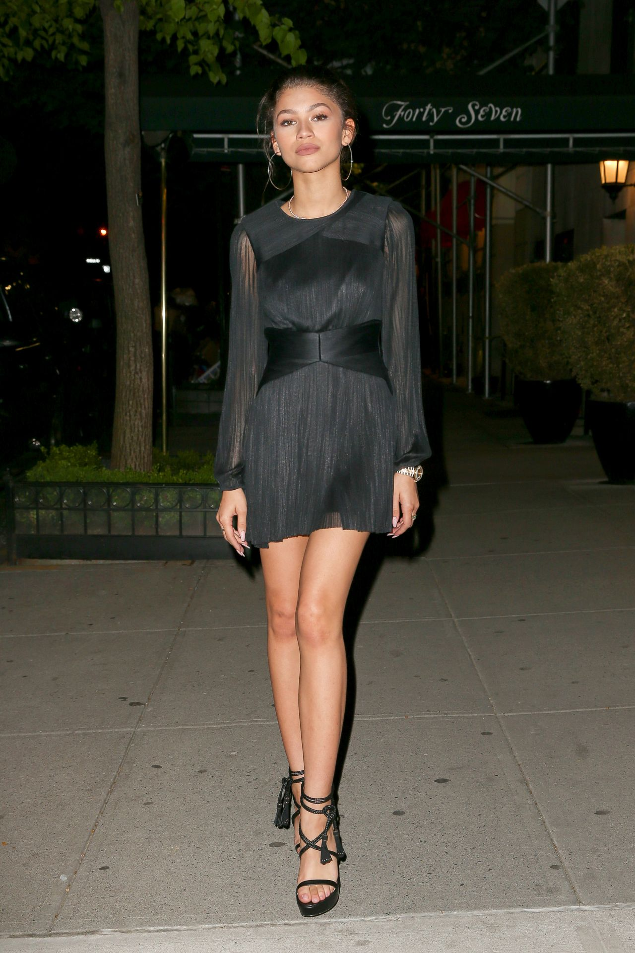 Zendaya Hot In Black Mini Dress Out In Nyc May 2015