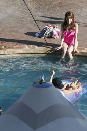 Anna Kendrick in a Bathing Suit at a Pool in Hawaii, June 2015
