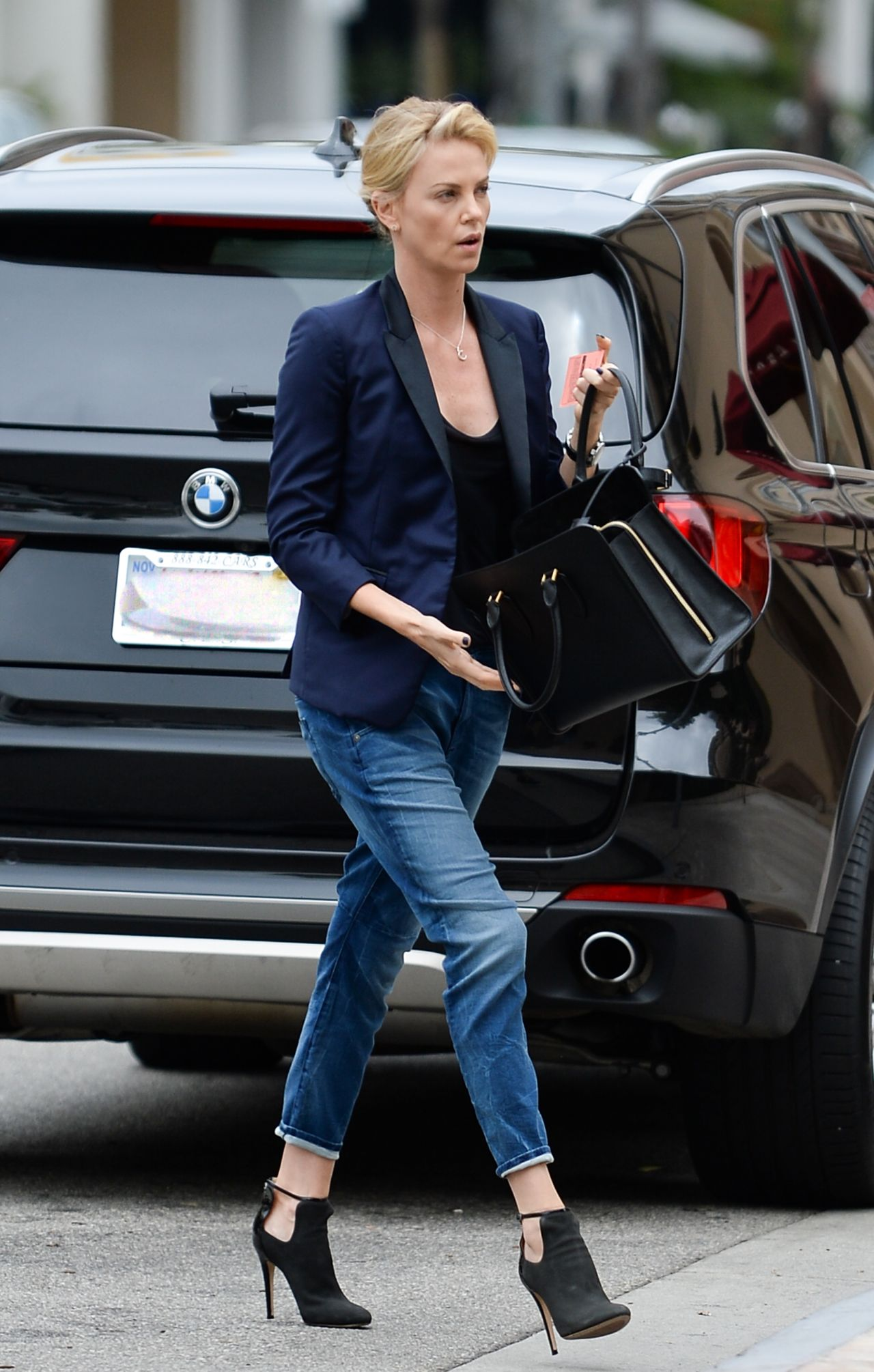 Charlize Theron Casual Style Outside Bouchon Restaurant