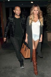Chrissy Teigen Night Out Style - Madeos Restaurant, June 2015