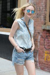 Dakota Fanning Leggy in Jeans Shorts - Soho NYC, June 2015