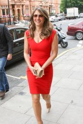 Elizabeth Hurley in Red Dress - Out in London, June 2015