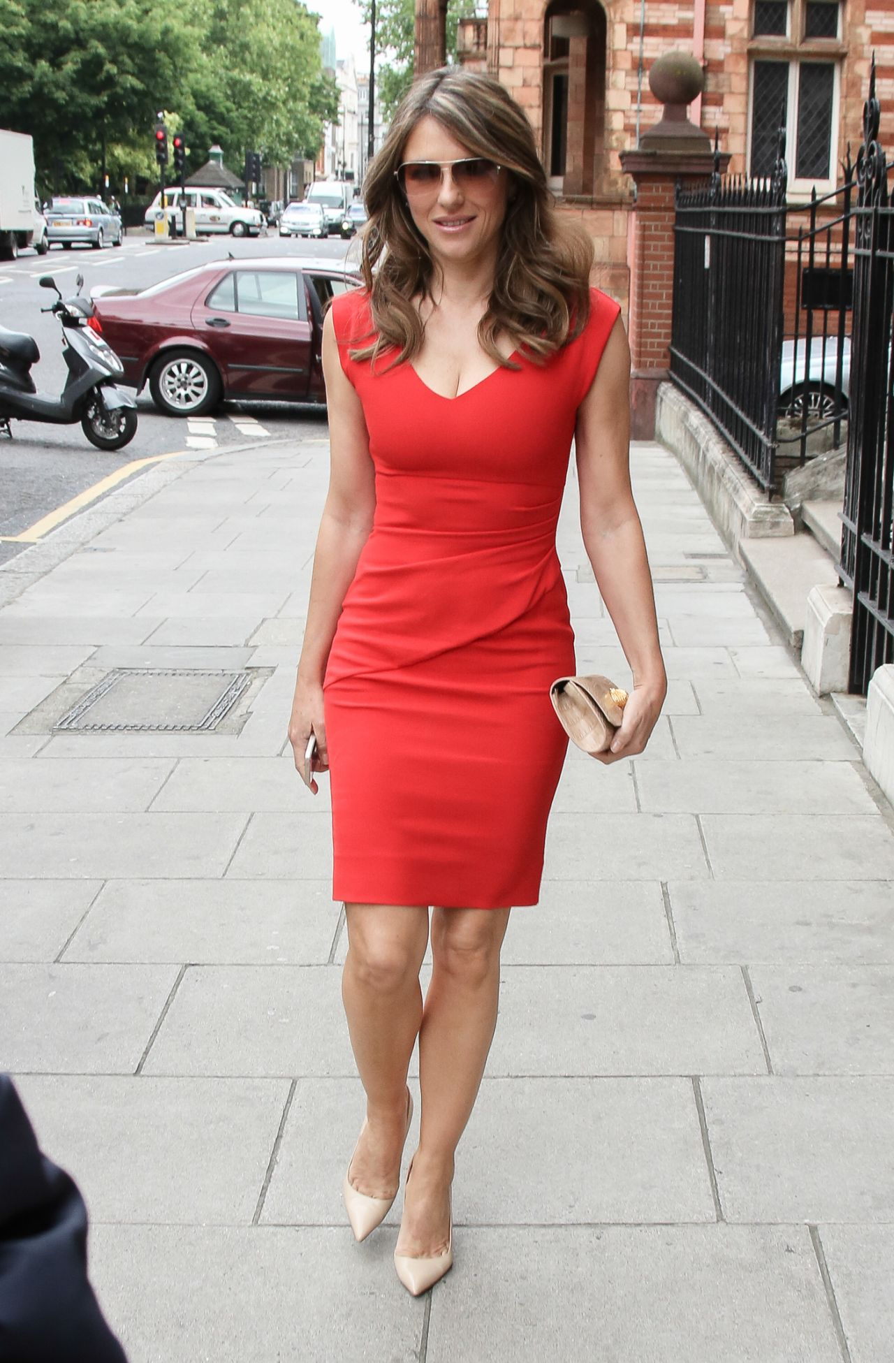elizabeth hurley in red dress out in london june 2015. Black Bedroom Furniture Sets. Home Design Ideas