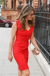 Elizabeth Hurley in Red Dress - Out in London, June 2015