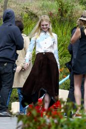 Elle Fanning on the Set of a Photoshoot in Malibu, June 2015