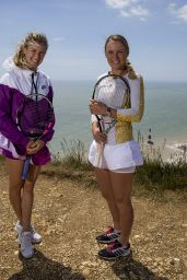 Eugenie Bouchard and Caroline Wozniacki Portraits on Top of Beachy Head, Eastbourne, June 2015