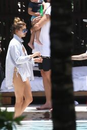 Hailey Baldwin in a Bikini at a Pool in Miami, June 2015