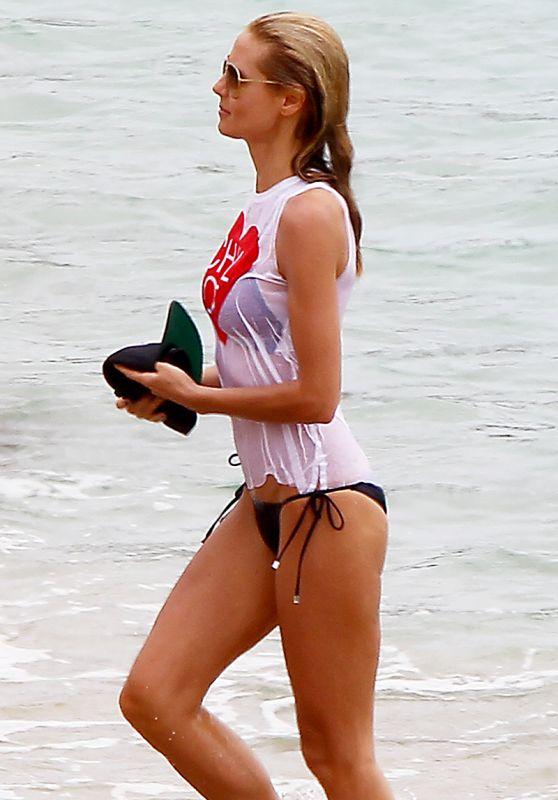 Heidi Klum in Wet-Shirt on the Beach in St.Barths, June 2015