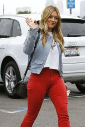 Hilary Duff in Red Pants - Going to a Studio in LA, June 2015