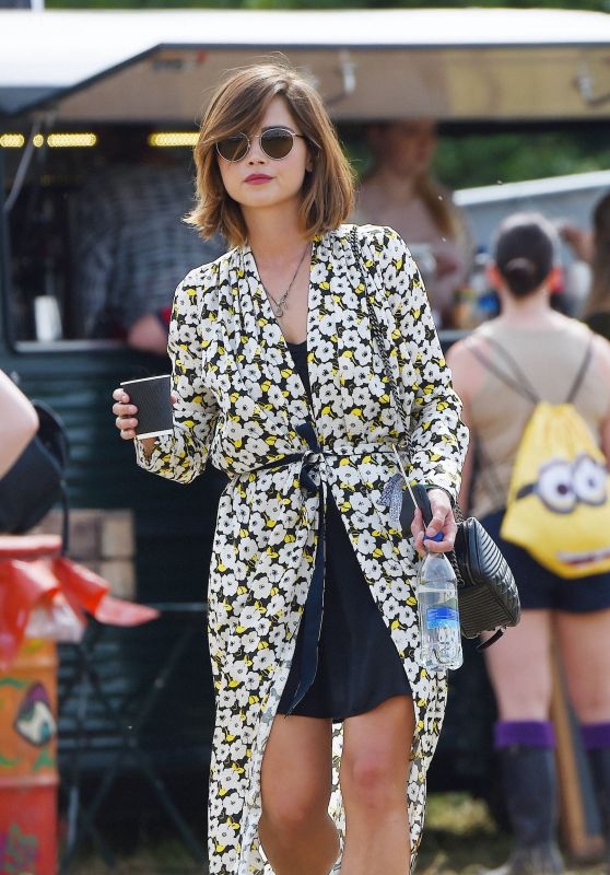 Jenna Coleman at the Glastonbury Festival in England, June 2015