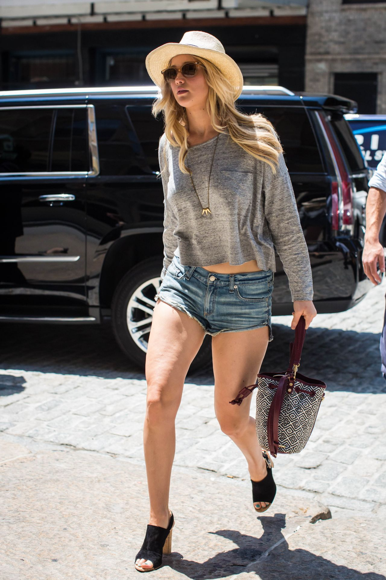 jennifer lawrence leggy in jeans shorts out in new york