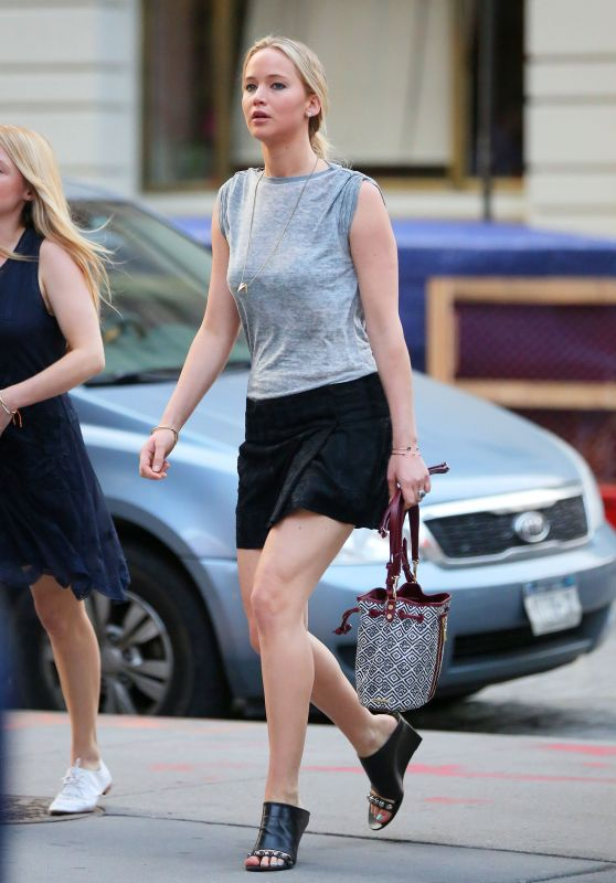 Jennifer Lawrence Shows Off Her Legs - Out in New York City, June 2015