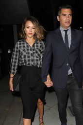 Jessica Alba Night Out Style - Leaving Craigs Restaurant, June 2015