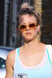Kaley Cuoco in Shorts - Leaving a Yoga Class in Sherman Oaks, June 2015