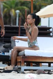 Karrueche Tran in a Swimsuit on the Beach in Miami, June 2015