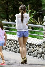 Katie Holmes in Jeans Shorts at Disneyland in Anaheim, June 2015