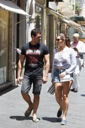 Kelly Brook in Jeans Shorts - Taormina, Italy, June 2015