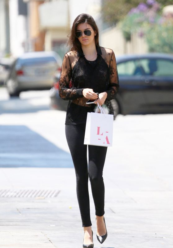 Kendall Jenner Casual Style - Shopping in Santa Monica, June 2015