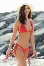 Lucy Mecklenburgh in Red Bikini - Photoshoot on a Beach in Dubai, June 2015