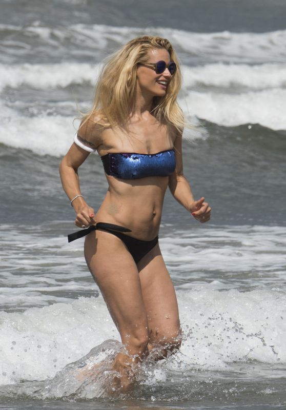 Michelle Hunziker in a Bikini - Beach in Italy, June 2015