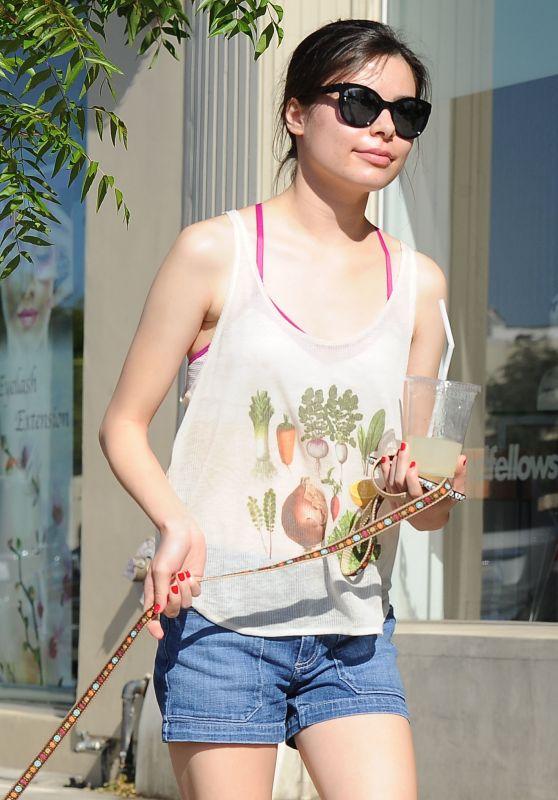 Miranda Cosgrove Walking Her Dog in Los Angeles, June 2015
