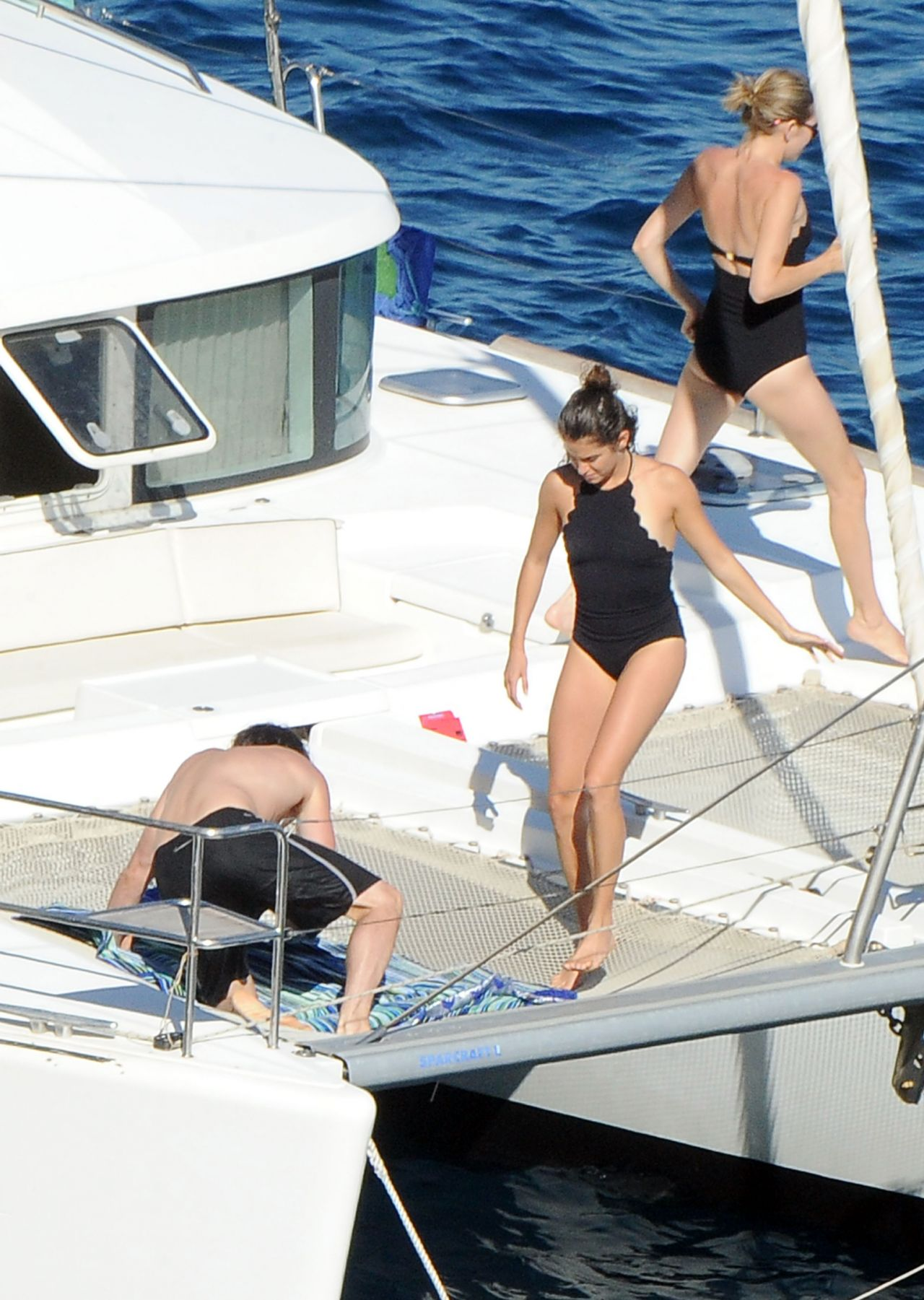 Nikki Reed In A One Piece Bathing Suit On A Boat In Italy