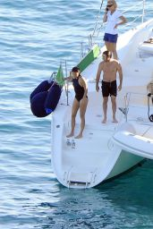 Nikki Reed in a One Piece Bathing Suit on a Boat in Italy, June 2015