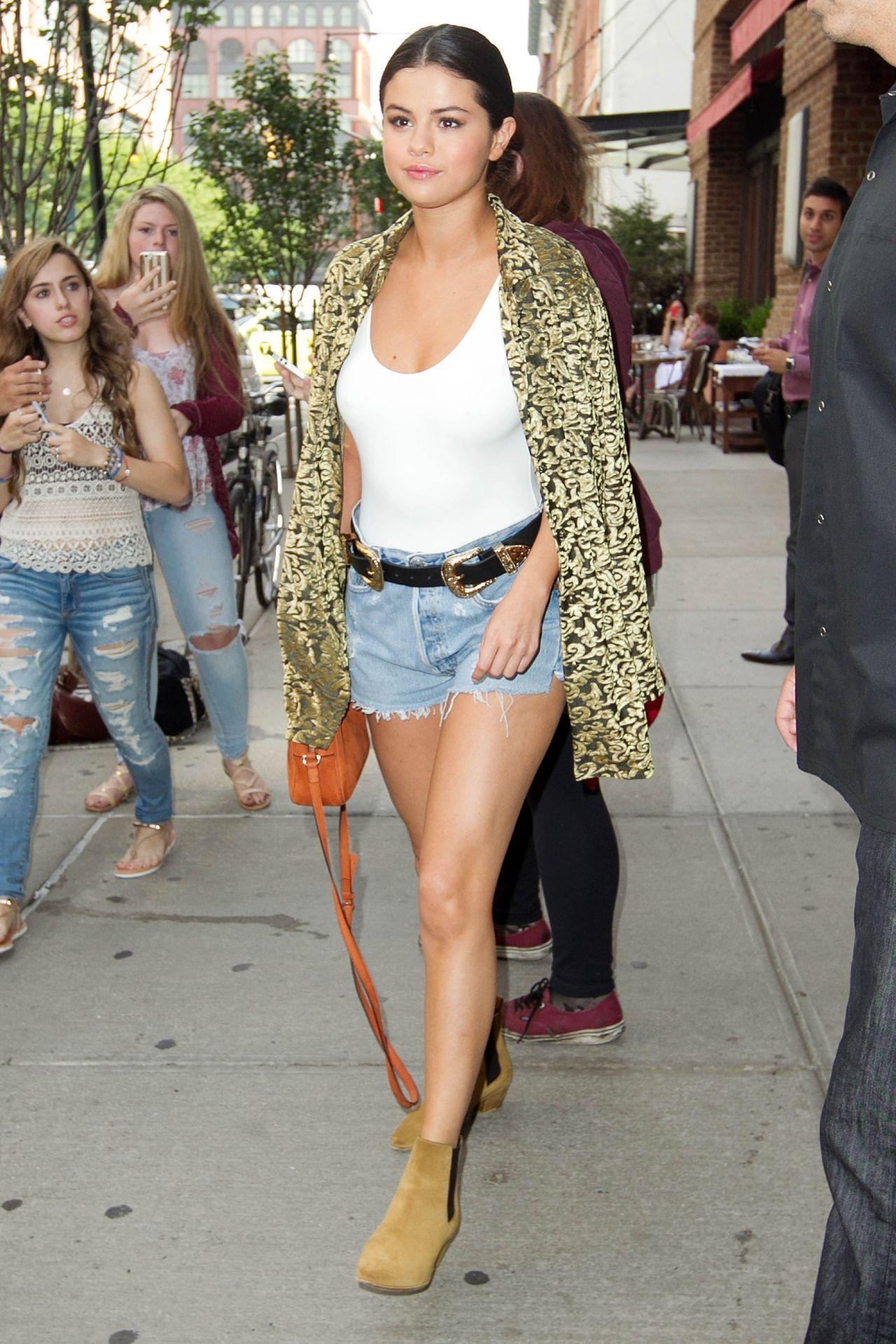 Selena Gomez Leggy In Jeans Shorts New York City June 2015