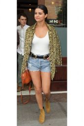 Selena Gomez Leggy in Jeans Shorts - New York City, June 2015
