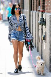 Vanessa Hudgens in Denim Shorts - Out in New York City, June 2015