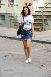 Victoria Justice in Mini Skirt - NYC, June 2015