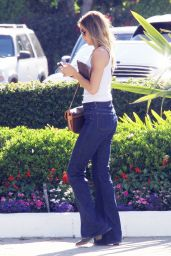 Arielle Kebbel in Jeans - at a Restaurant in West Hollywood, July 2015