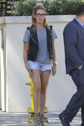 Ashley Tisdale in Denim Shorts, Out in Pasadena, July 2015