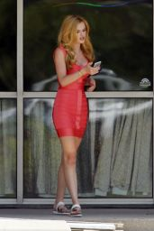 Bella Thorne Hot in Red Dress - On the Set of Scream, July 2015