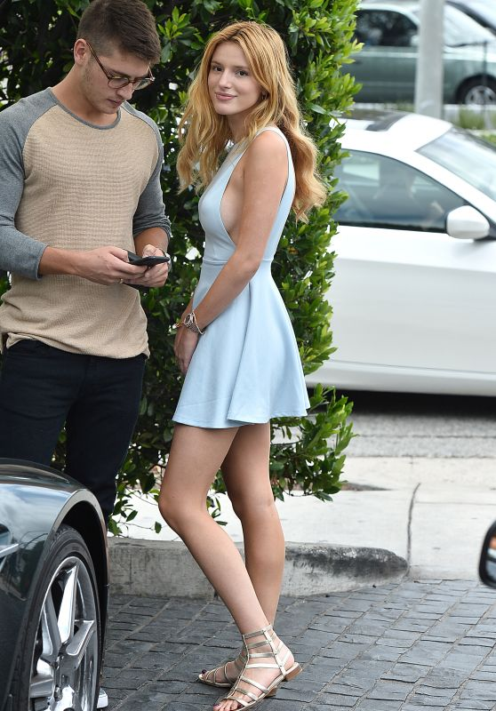 Bella Thorne in Mini Dress - Cecconis Restaurant in West Hollywood, July 2015