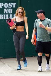 Candice Swanepoel Hot in Tights - Leaving ModelFit in NYC, July 2015