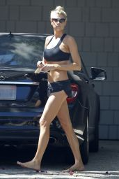 Charlotte McKinney - Tiny Shorts & Top - Leaving the Gym in Los Angeles, July 2015