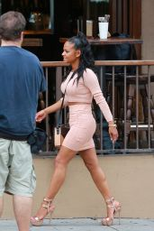 Christina Milian Street Fashion - On Set of Christina Milian Turned Up in Los Angeles
