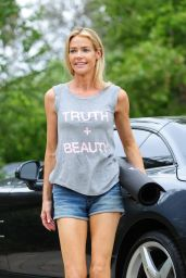 Denise Richards Leggy in Shorts at a Yoga Studio in Los Angeles, July 2015