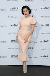Dita Von Teese on Red Carpet – amfAR Dinner in Paris, July 2015