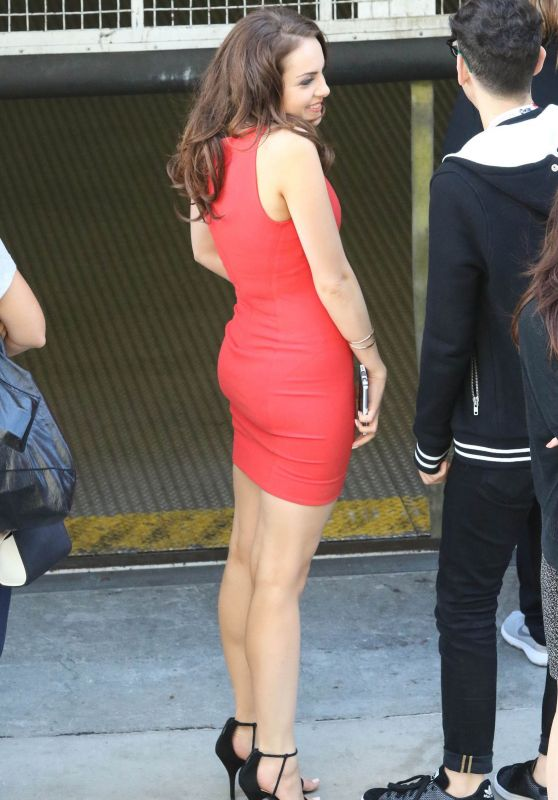 Elizabeth Gillies in a Red Dress - Leaving the Hard Rock Hotel at Comic-Con in San Diego