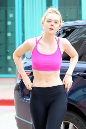 Elle Fanning - Arriving at the Gym in Studio City, July 2015
