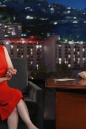 Emilia Clarke in a Red Dress at Jimmy Kimmel Live! in Hollywood, June 2015